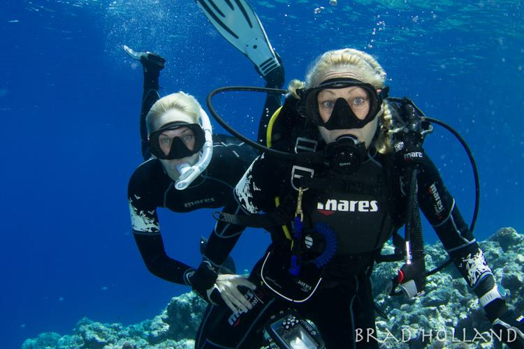 Margo and Stephanie diving in Yap.