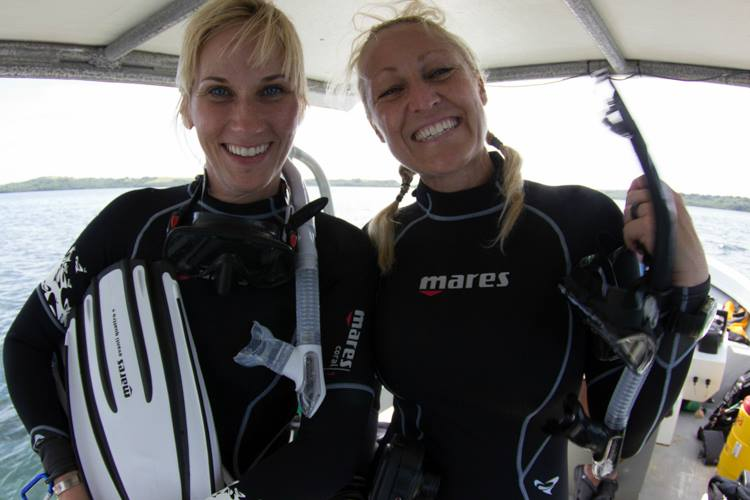 Photo of girls on yap divers boat.