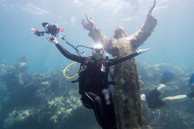Diving with christ statue in Key Largo.