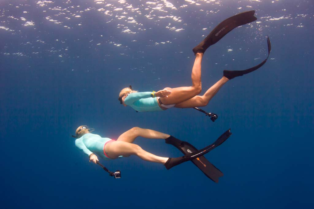 Ashley photographing freediving fins.