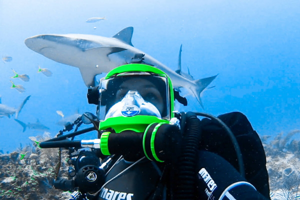 Exploring with OTS Guardian dive mask.